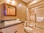 The private bath for the Guest Master Bedroom (#2) has a nice tub/shower combo.