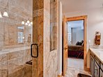 The private bath for master bedroom #6 has a walk-in shower.