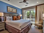The master bedroom has a king bed, of course.