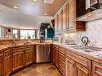 The spacious kitchen can accommodate any cook.