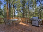 The back deck is a great place to grill (gas) or relax and enjoy pleasant aroma of the pine trees.