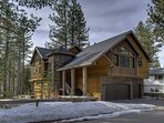 Here's an outdoor front view of this rustic yet modern Tahoe home.