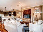 The Cabana house has beautiful hardwoods, and an eclectic mix of art and furnishings