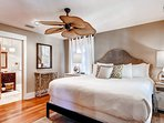 The carriage house master bedroom (#6) has a king bed and private bath