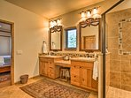His-and-her sinks provide plenty of space.