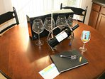 KITCHEN TABLE WITH YOUR WELCOME WINE AND GLASS SETS TO TAKE HOME