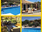 Both villas overlook the stunning large heated pool & bar, each house has own patio & chiminea BBQ
