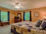 1st floor bedroom is lg, clean w linens, towels provided. Cable TV and free WiFi. Mountain views
