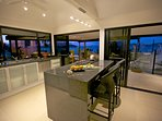 Gourmet Kitchen at Sunset with views across to Mission Beach and Mainland Australia