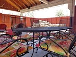 There is a 6 person outdoor dining set and a 4 person conversational set for your enjoyment.