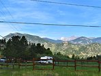 View from the front yard, looking North to the mountains making up Rocky Mountain National Park.