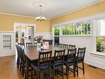 The large dining room table can seat a crowd.