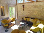 Pool House in the Main Farmhouse of the Brandettes, Summer living room usefull for family meeting