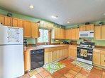Modern appliances and ample counter space make home-cooking a cinch.