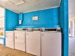 Coin laundry in the complex lets you rinse the sand off your clothes.