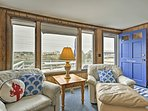 This cozy beachfront property comfortably sleeps 8 lucky guests.