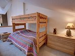 Loft area with bunk beds and ensuite bathroom great for kids.