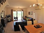 Spacious and comfortable living room with air con, UK & Spanish TV and Wi-Fi Internet.