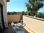 The king size bedroom terrace with views of the sea and Denia Castle