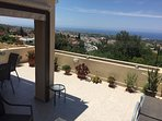 Wonderful large terrace with views of the Paphos coastline.