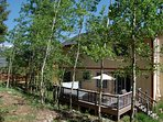 Rear exterior surrounded by aspen grove
