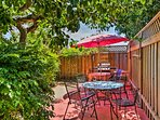 Share refreshments underneath the shade umbrella.