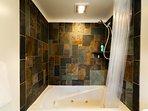 Jetted Jacuzzi Bath Tub with Custom Slate Walls!