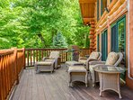 Comfortable seating on deck at Spice Mountain Lodge