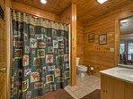 Full size bathroom upstairs.