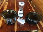 Crockpots x 2, blender and mixer