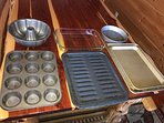 bundt / cake / muffin pans, glass casserole dish and broiler pans