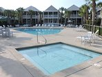 The main community pool and hot tub is a couple minutes walk from our home.