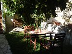 Breakfast in the garden (with a fig tree and an orange tree)