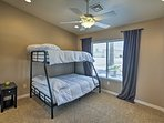 The third bedroom with a twin-over-full bunk bed is perfect for the kids!