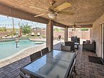 Fire up the gas grill for an al fresco feast in the shade of the covered patio!