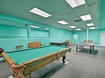 Practice your pool skills in the game room.