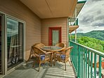 Take in the stunning mountain views from the condo's private balcony.