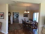 Large dining room seats 10+ with views of mountains and valley