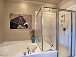 Relax with a soothing bubble bath in the jetted tub.
