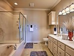 The en-suite master bathroom has everything you need.