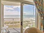 Enjoy ocean views through the glass doors.