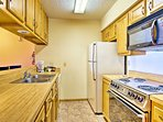The fully equipped kitchen is ready to see what meals you'll prepare.