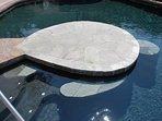Turtle-shaped platform in pool