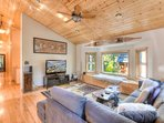 Classic mountain Tahoe decor adorns the living room