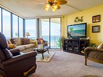 Man sized 50' flat-screen TV and a leather recliner, too.  Great for watching the BIG game!