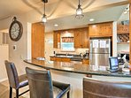 The kitchen offers tons of counter space!