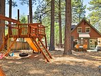 The kids will love the backyard, complete with a playground and trampoline.