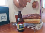 Local brew and our homemade bread.