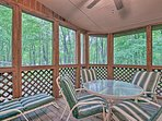 Gaze out at the forested surroundings while you eat!