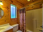 This bathroom with a shower/tub combo is great for rinsing off after adventuring.